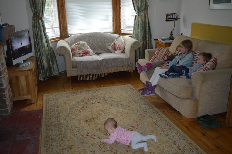 chilling in Nanny and Grandad's living room