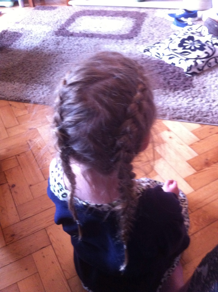 dutch braided pigtails with zigzag part