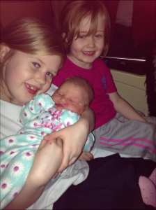Meeting her big sisters