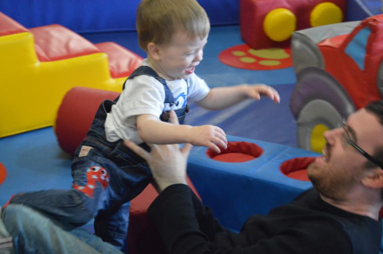Attacking Daddy at Soft Play (Daddy is blurry, need to get better with the DSLR)