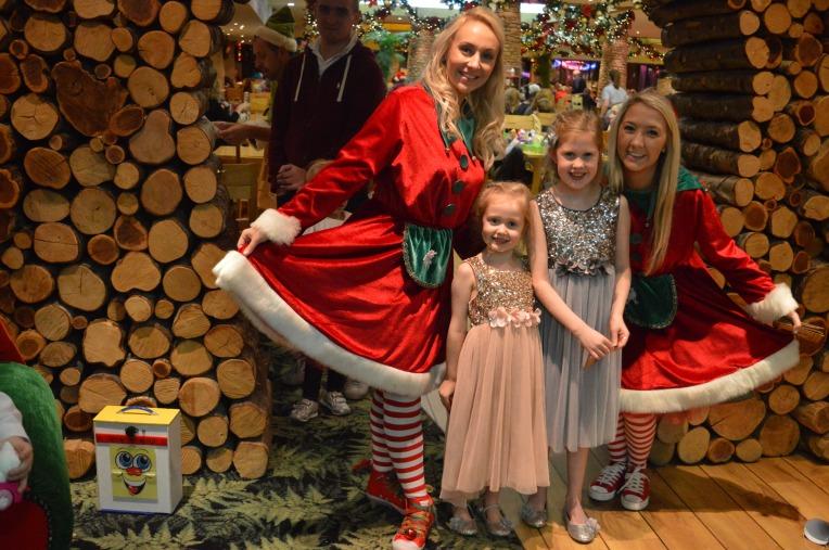 girl elves, Santa's knee, Father Christmas, Santa's grotto, dinner with Father Christmas, Barton Grange, beautiful children, Christmas, dontcallmestepmummy, blended family